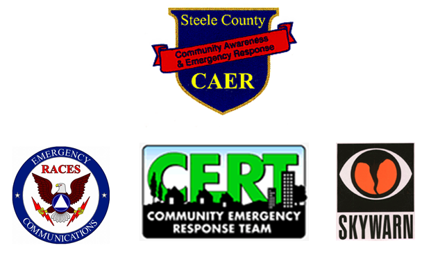 Logos for Steele County Volunteer Agencies CAER, CERT, SKYWARN & Emergency Races Communications